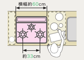 天板の幅が60cmのビルトインコンロ